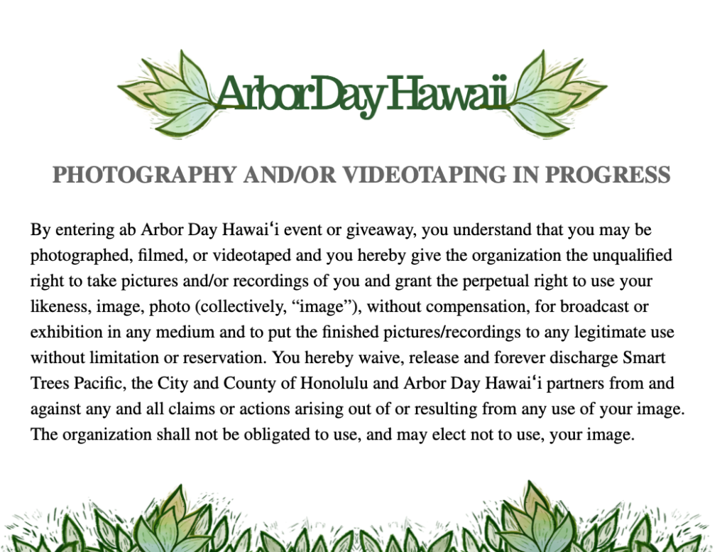 statement for photo release of Arbor Day hawaii events